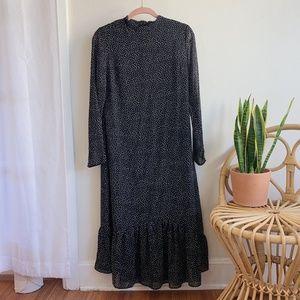 Asos Midi Polka Dot Dress with Sleeves